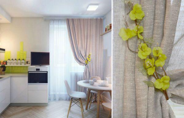 Оформление окна на кухне в скандинавском стиле вариант 5 фото