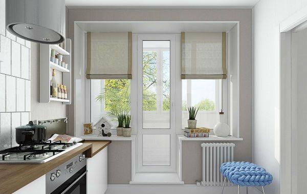 Оформление окна на кухне в скандинавском стиле вариант 7 фото