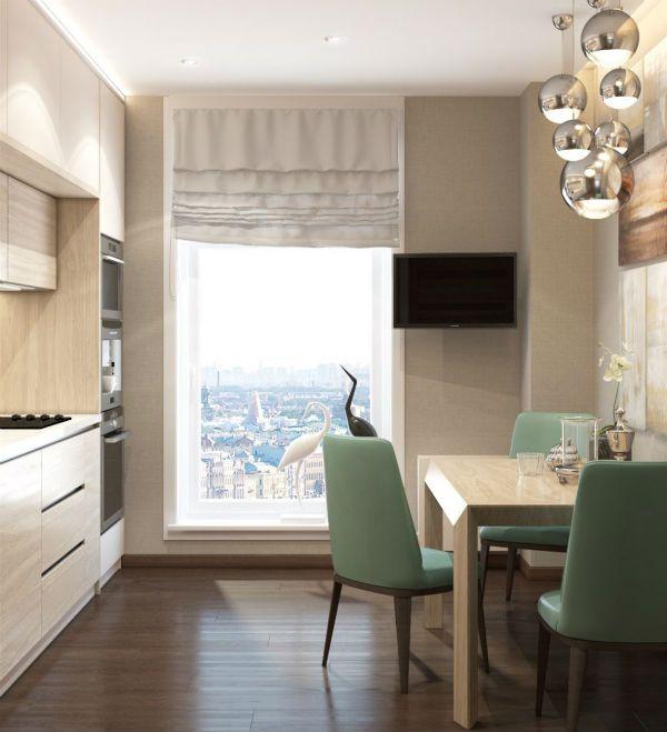 Оформление окна на кухне в современном стиле вариант 10 фото