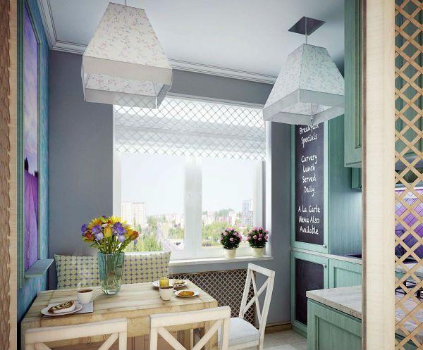 Оформление окна на кухне в современном стиле вариант 2 фото