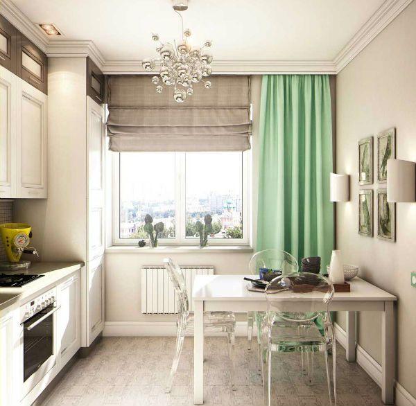 Оформление окна на кухне в современном стиле вариант 5 фото