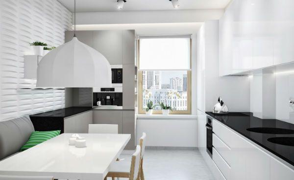 Оформление окна на кухне в стиле минимализм вариант 4 фото