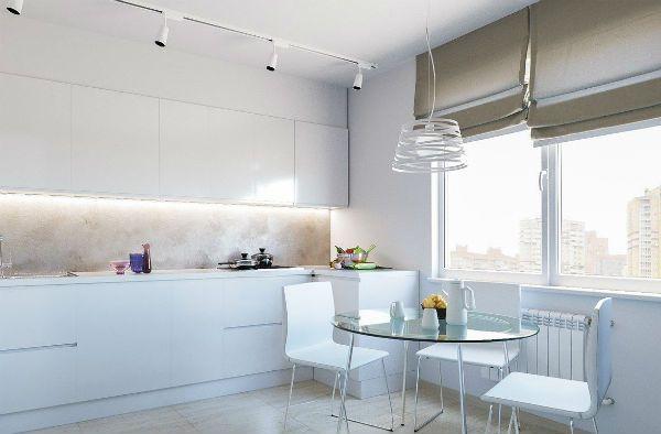 Оформление окна на кухне в стиле минимализм вариант 6 фото