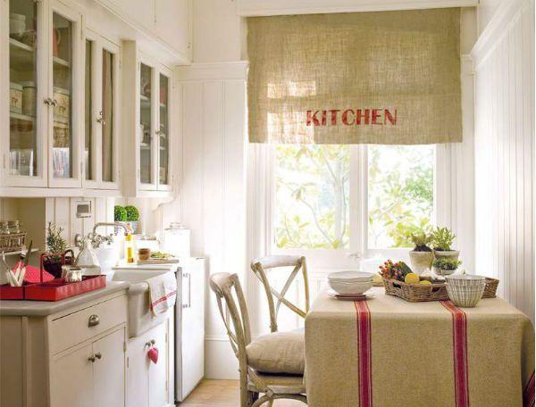 Оформление окна на кухне в стиле прованс вариант 1 фото