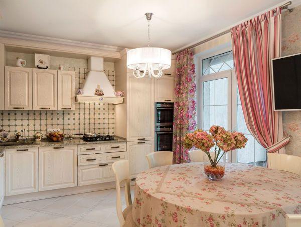 Оформление окна на кухне в стиле Прованс вариант 10 фото