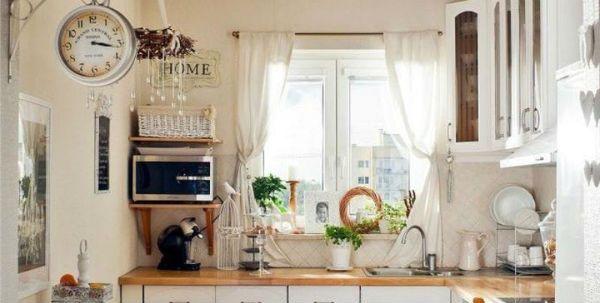 Оформление окна на кухне в стиле прованс вариант 2 фото