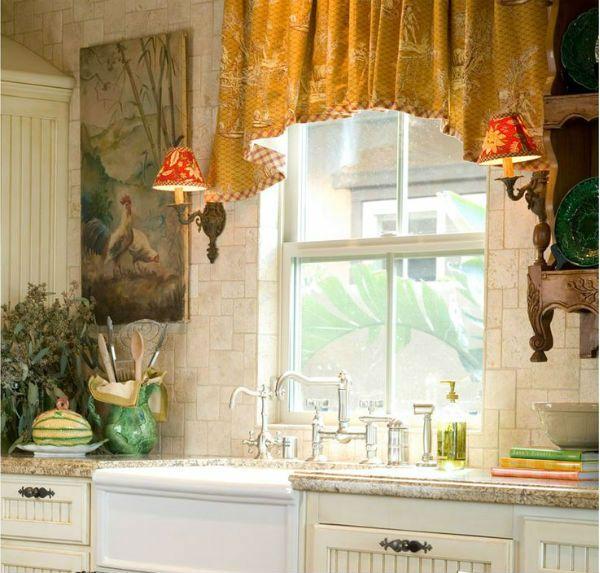 Оформление окна на кухне в стиле прованс вариант 3 фото