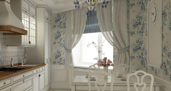 Оформление окна на кухне в стиле прованс вариант 4 фото