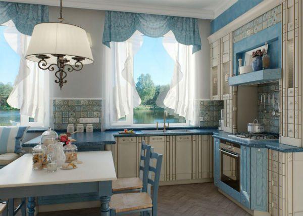 Оформление окна на кухне в стиле прованс вариант 5 фото
