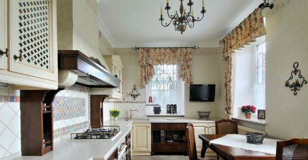 Оформление окна на кухне в стиле прованс вариант 6 фото