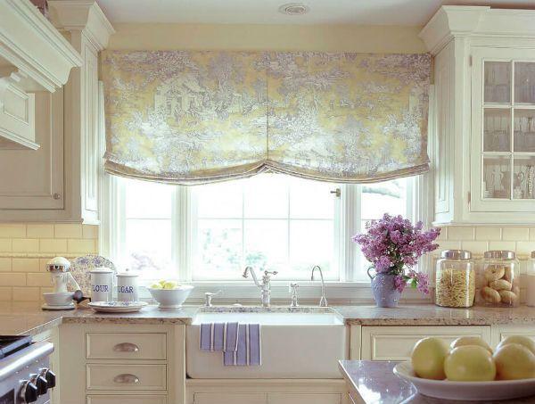 Оформление окна на кухне в стиле прованс вариант 8 фото