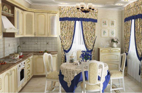 Оформление окна на кухне в стиле прованс вариант 9 фото