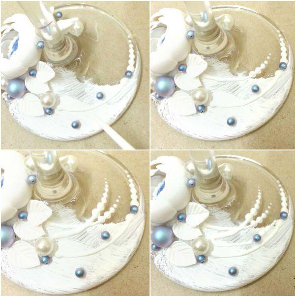 Декор свадебных бокалов полимерной глиной шаг 11 фото