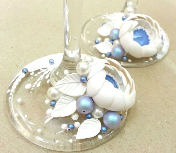 Декор свадебных бокалов полимерной глиной шаг 14 фото