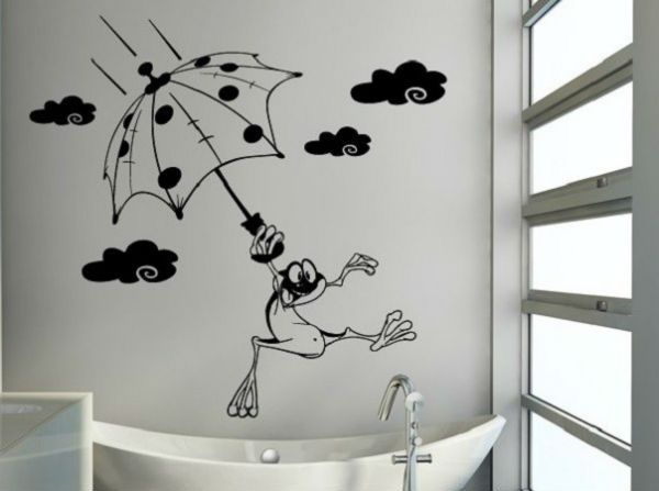 Трафарет в ванной фото