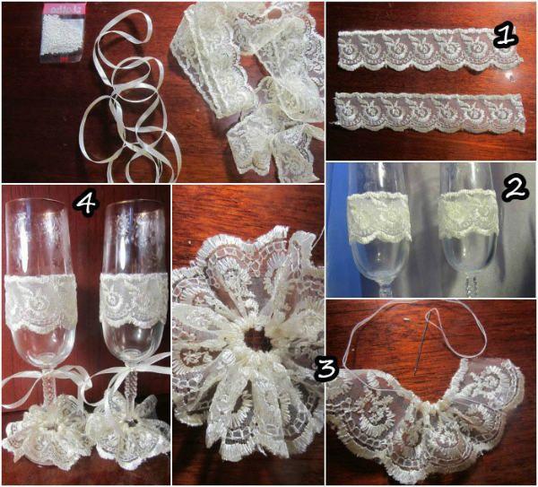 Декор свадебных бокалов кружевом фото