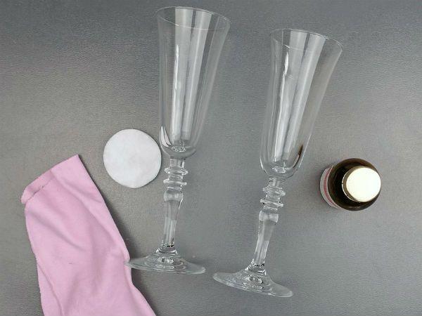 Декор свадебных бокалов кружевом и лентами шаг 1 фото