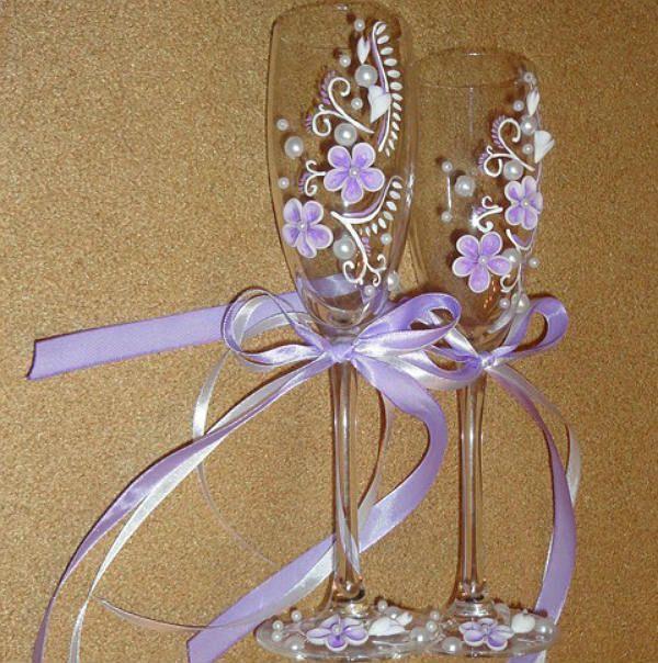 Украшение свадебных бокалов полимерной глиной шаг 10 фото