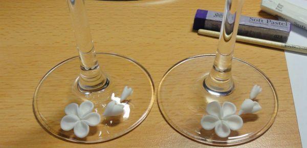 Украшение свадебных бокалов полимерной глиной шаг 7 фото