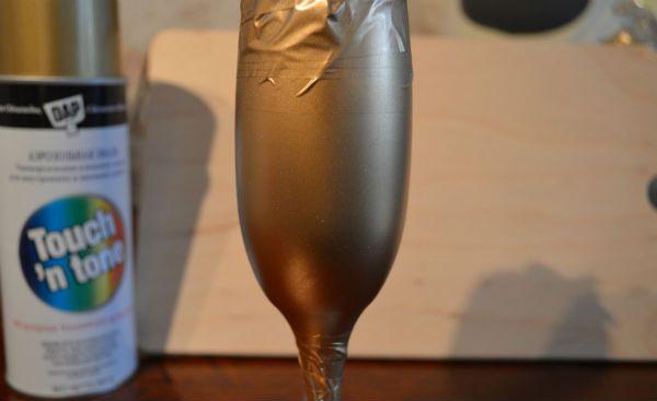 Декор свадебных бокалов тканью шаг 2 фото