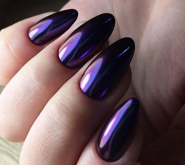 Лак хамелион на ногтях миндалевидной формы фото