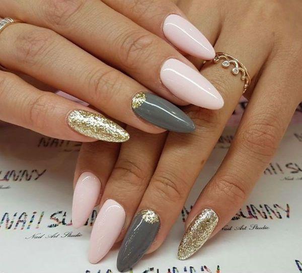 Маникюр на ногтях миндалевидной формы фото