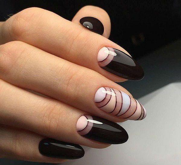 Миндалевидная форма ногтей маникюр в этно стиле фото