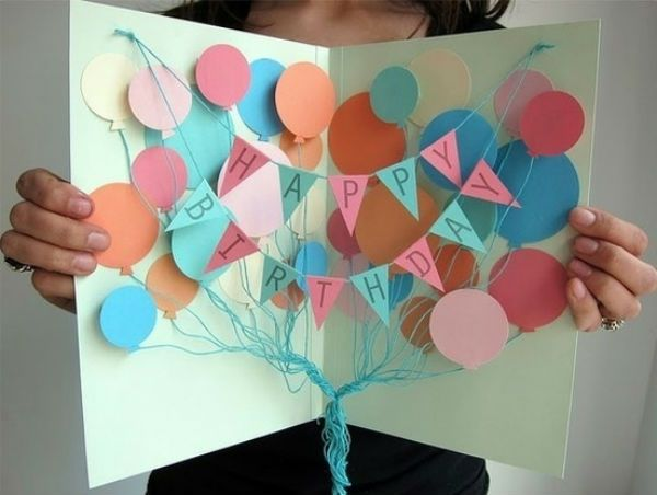 Открытка на день рождения с шариками фото
