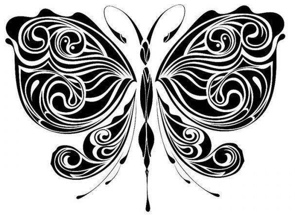 Бабочка трафарет фото