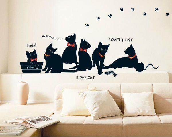 Трафарет на стене с котятами фото