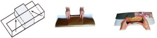 Упаковка подарка в бумагу способом косичка шаг 1 фото