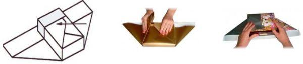 Упаковка подарка в бумагу способом косичка шаг 3 фото