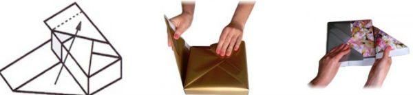 Упаковка подарка в бумагу способом косичка шаг 4 фото