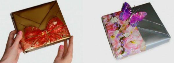 Упаковка подарка в бумагу способом косичка фото