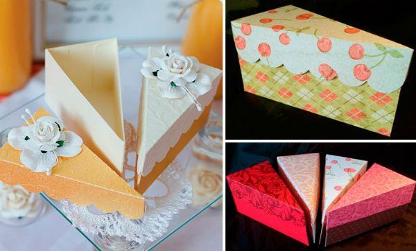 Упаковка из бумаги в виде кусочка торта фото