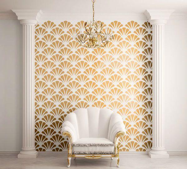 Золотой трафарет на стене фото