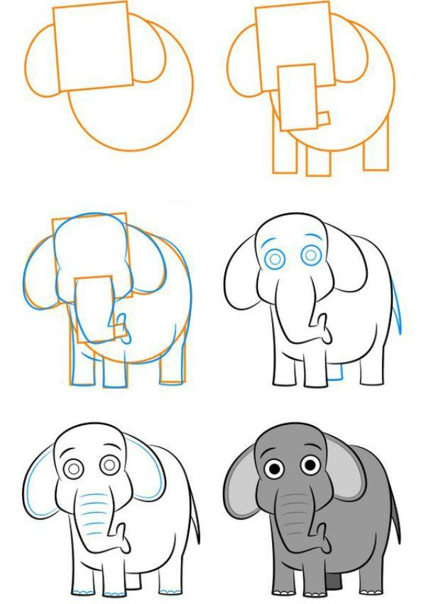Слон пошагово фото