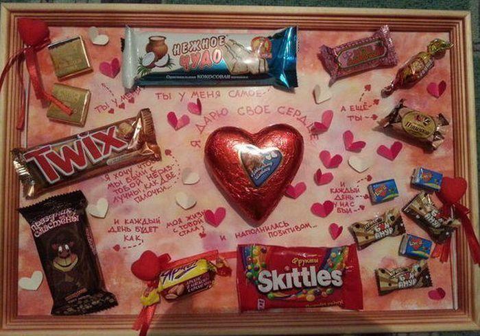 Картина с шоколадками фото