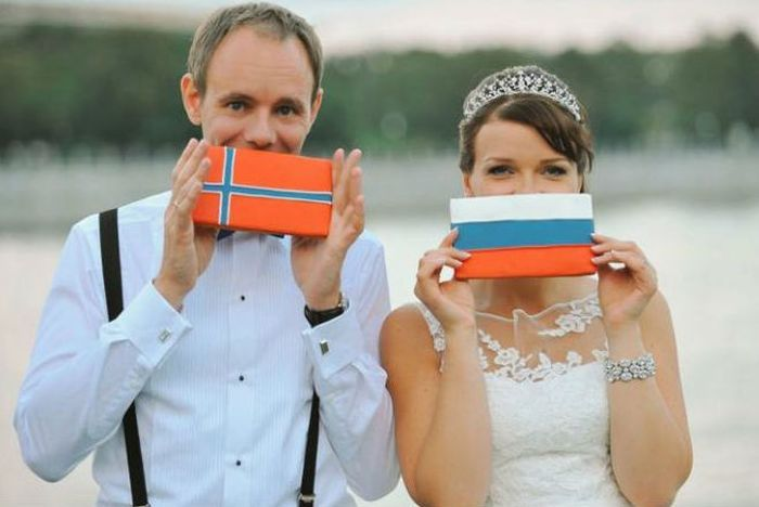 Русская и норвежец фото