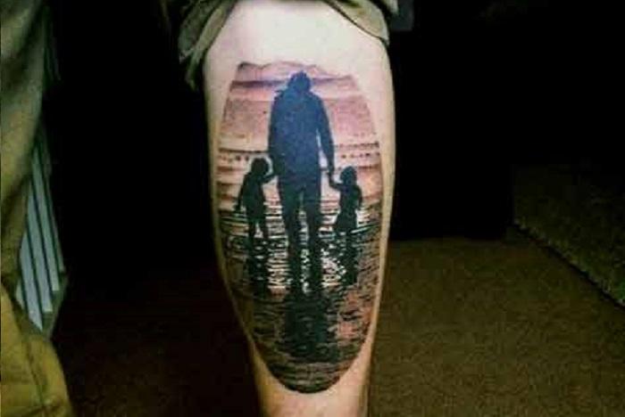 tatoo-na-тату на ноге отец с детьми фото
