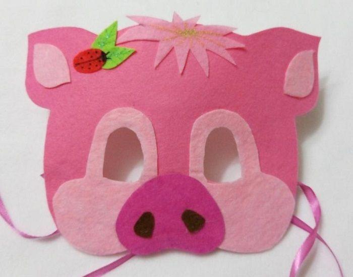 Маска свиньи из фетра