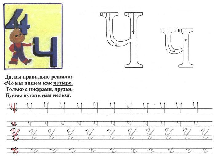 Печатная буква Ч