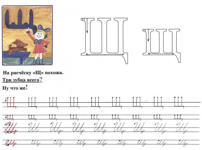 Печатная буква Щ