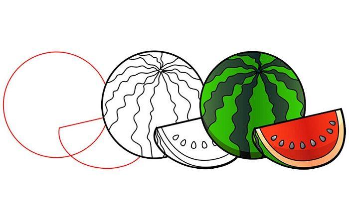Поэтапный рисунок арбуза