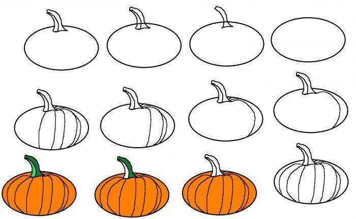 Поэтапный рисунок тыквы