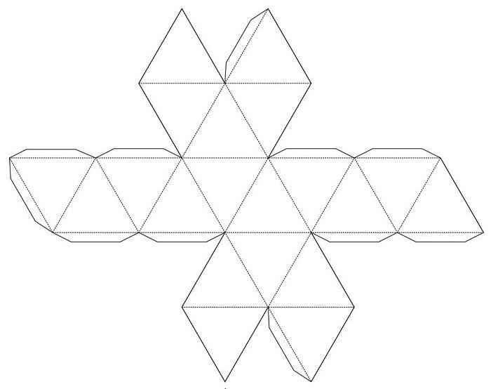 Развертка икосаэдра из бумаги