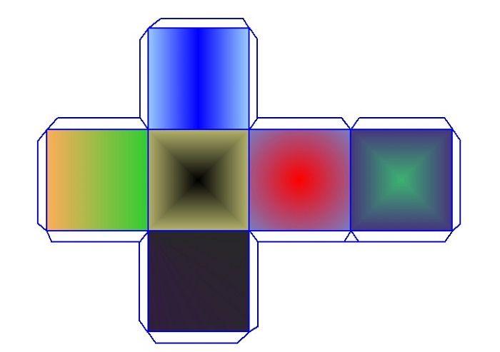 Шаблон объемного квадрата