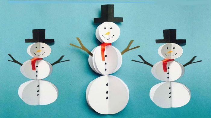 Снеговик из бумаги фото