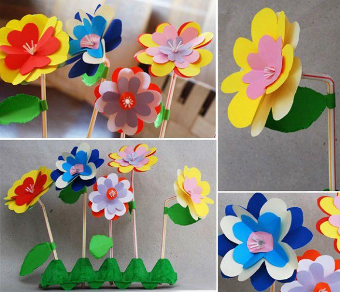 Цветок на соломинке поделка фото