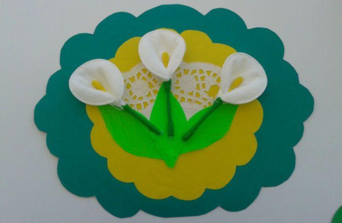Цветы из ватных дисков фото
